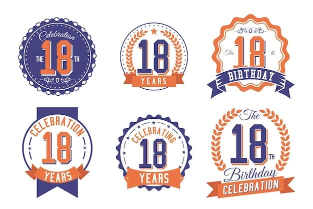 Collection de badges dix-huitième anniversaire