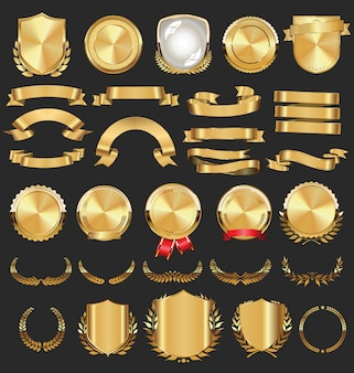 Collection de badges dorés étiquettes lauriers bouclier et plaques métalliques