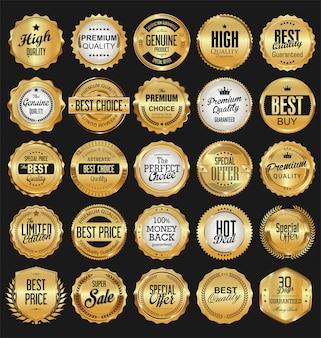 Collection de badges dorés étiquettes lauriers et rubans