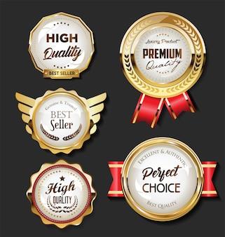 Collection de badges dorés et étiquettes rétro