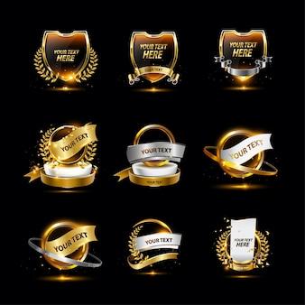 Collection de badges dorés de luxe