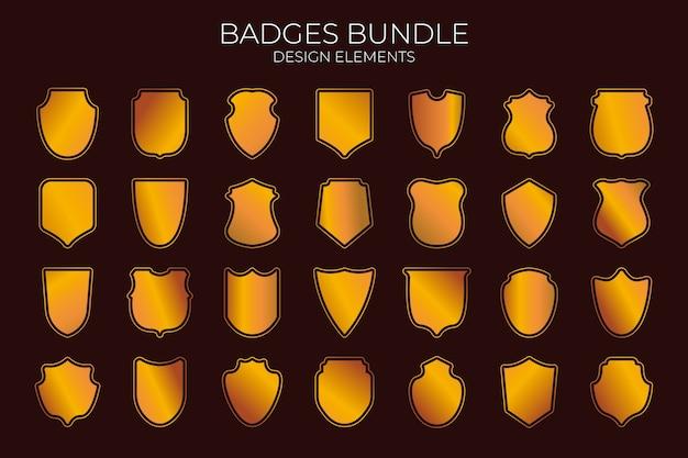 Collection de badges dorés. ressources graphiques.