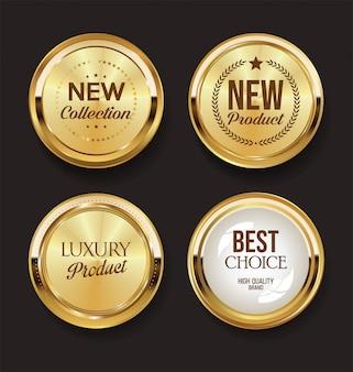 Collection de badges dorés rétro vintage