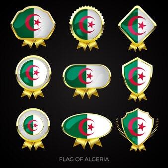 Collection de badges de drapeau algérien de luxe en or