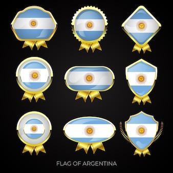 Collection de badges de drapeau argentin doré de luxe