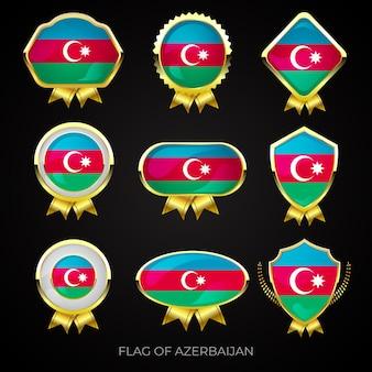 Collection de badges de drapeau azerbaïdjanais de luxe en or