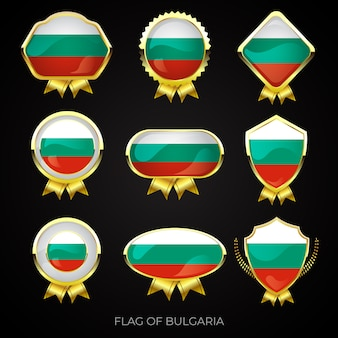 Collection de badges de drapeau d'or de luxe de bulgarie