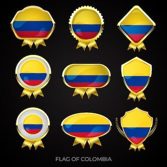Collection de badges de drapeau d'or de luxe de la colombie