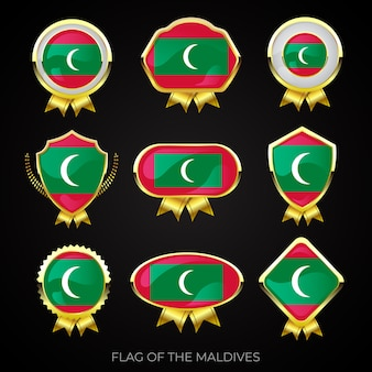 Collection de badges de drapeau d'or de luxe des maldives