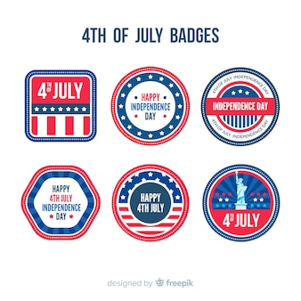 Collection de badges du 4 juillet