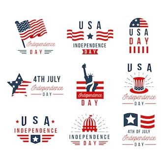 Collection de badges du jour de l'indépendance des états-unis