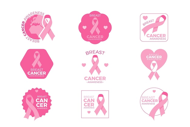 Collection de badges du mois de sensibilisation au cancer du sein