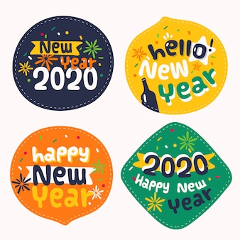 Collection de badges du nouvel an 2020 au design plat