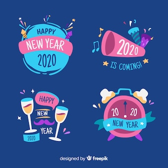 Collection de badges du nouvel an dessinés à la main