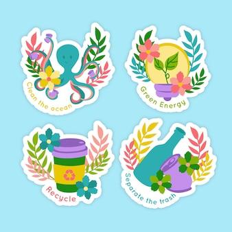Collection de badges d'écologie dessinés à la main