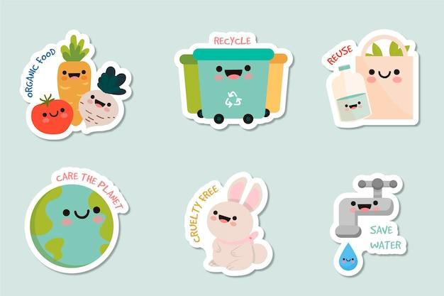 Collection de badges écologiques dessinés à la main