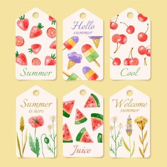 Collection de badges d'été aquarelle