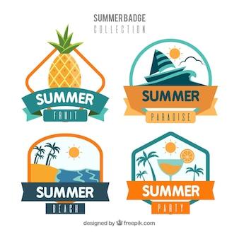 Collection de badges d'été dans un style plat
