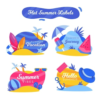 Collection de badges d'été design plat