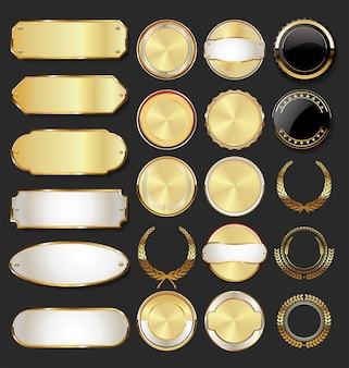 Collection de badges et étiquettes dorées style rétro