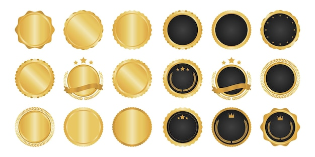 Collection de badges, d'étiquettes et d'éléments métalliques modernes en cercle doré.