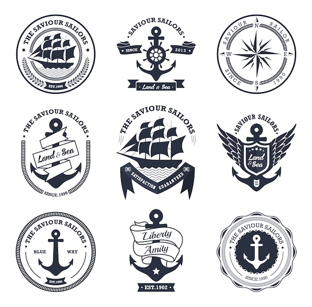 Collection de badges et étiquettes nautiques vintage