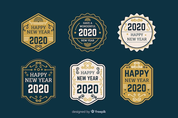 Collection de badges et étiquettes plates nouvel an 2020