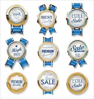 Collection de badges et étiquettes rétro vintage or et bleu