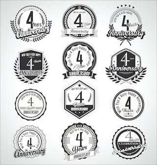 Collection de badges et étiquettes rétro vintage