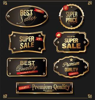 Collection de badges et étiquettes rétro