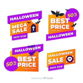 Collection de badges et étiquettes de vente halloween plat
