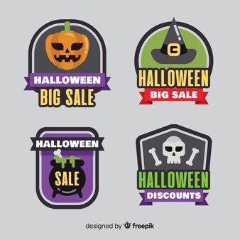 Collection de badges et étiquettes de vente halloween plat