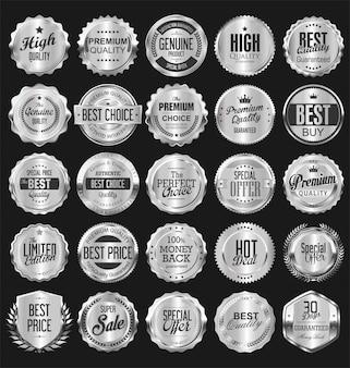 Collection de badges et étiquettes vintage rétro argentés