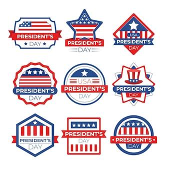 Collection de badges d'événement de la journée du président