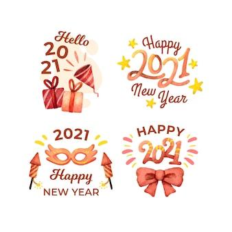 Collection de badges de fête aquarelle nouvel an 2021