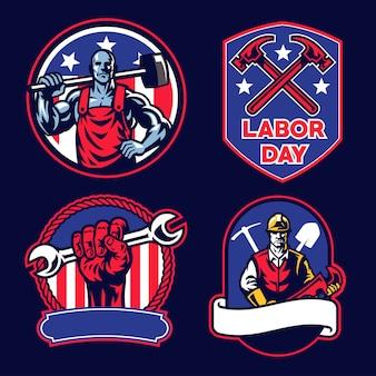 Collection de badges de la fête du travail américaine
