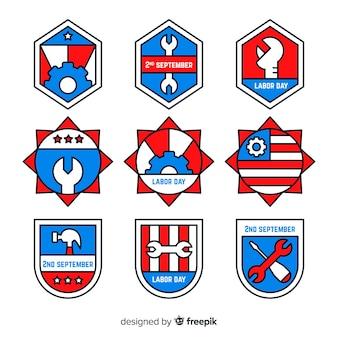 Collection de badges de fête du travail