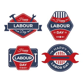 Collection de badges de la fête du travail
