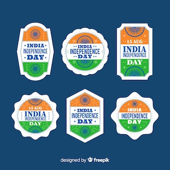 Collection de badges fête de l'indépendance plat inde