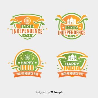 Collection de badges fête de l'indépendance plat inde