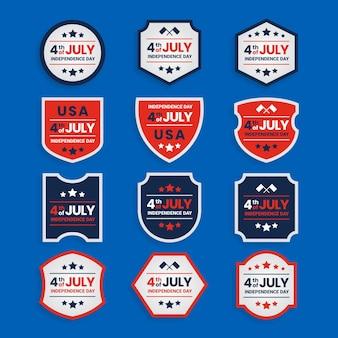 Collection de badges de la fête de l'indépendance