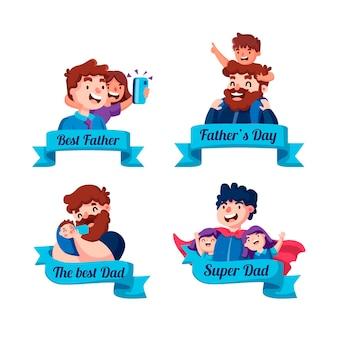 Collection de badges de fête des pères de dessin animé