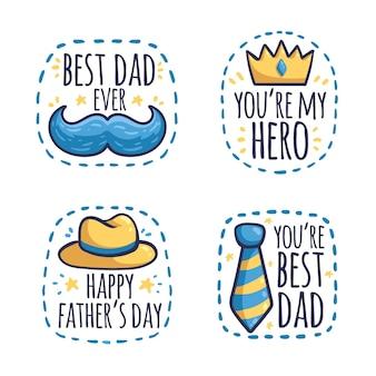 Collection de badges de fête des pères dessinés à la main