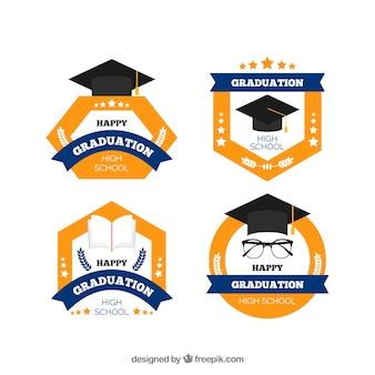Collection de badges de graduation élégant avec un design plat