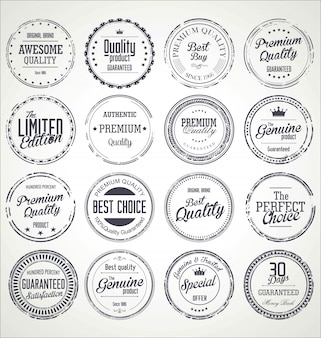 Collection de badges grunge rétro de qualité premium