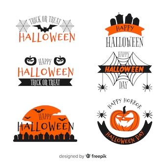 Collection de badges halloween au design plat