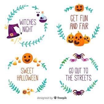 Collection de badges halloween au design plat
