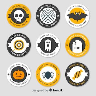 Collection de badges halloween colorés avec un design plat