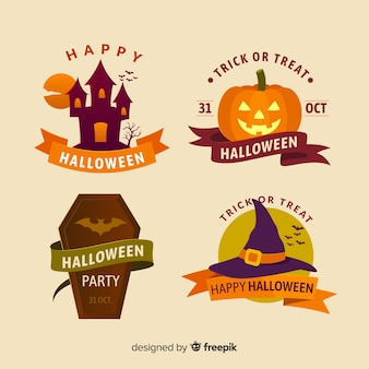 Collection de badges halloween colorés avec un design plat