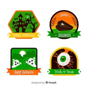 Collection de badges halloween design plat